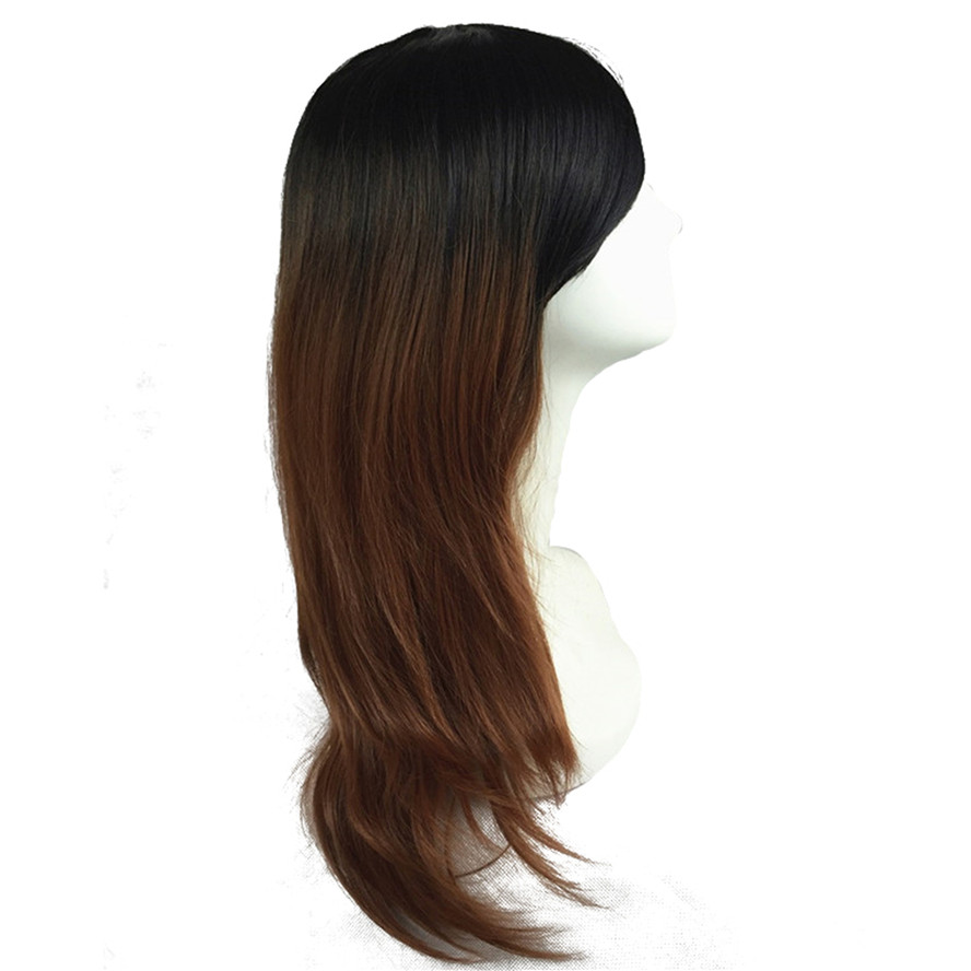 StrongBeauty Womens Ombre Wig Bob Long Straight Brown with Black roots Synthetic Hair Full Wigs