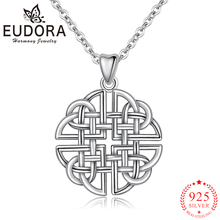 Eudora Authentic 925 Sterling Silver Celtics Knot Pendant Necklaces for Women Girl Birthday Gift Fashion Sterling-silver Jewelry eudora unique design 925 sterling silver celtics knot love pendant necklaces fashion women jewelry party wedding gift ksyd200