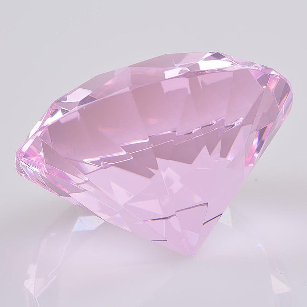 50mm Colorido Crysta Diamante Rosa rojo azul Pisapapeles Joya Gigante - Decoración del hogar - foto 4