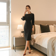 Autumn Elegant 0-Collar Sexy Work Dresses Women Uniform  Office Ladies Slim Dress Solid Vestidos Mujer Korean style