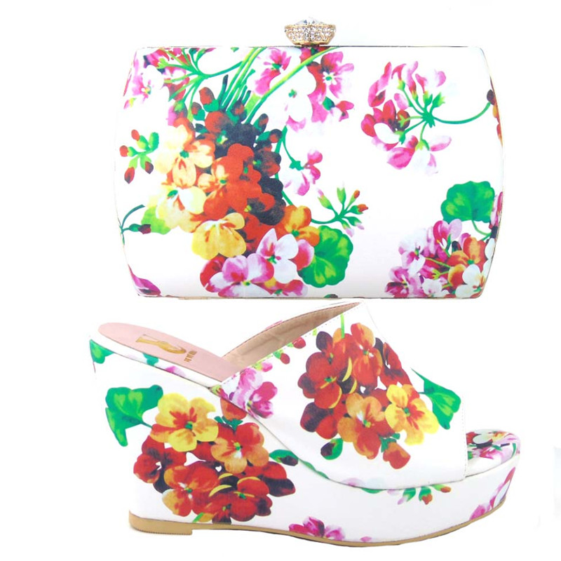ФОТО African Ladies shoes and bags to match set High quality shoes and bag for Italian design white Color!HJJ1-1