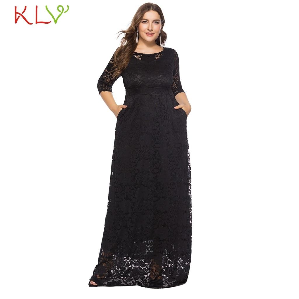 Dress Women Elegant Big Size Black White Formal Vintage Lace Long ... e60e52096b12