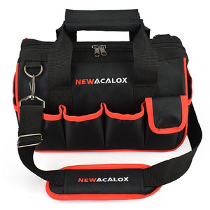 """Image 2 - NEWACALOX 12 """"حقيبة أدوات صغيرة رشاقته الأجهزة المهنية كهربائي إصلاح تخزين العمل حقيبة حامل 600D إغلاق أعلى واسعة الفم"""