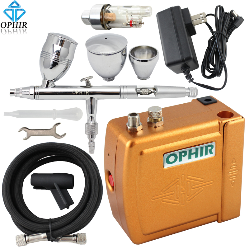 OPHIR PRO 0.5mm Dual Action Airbrush Kit with Air Compressor for Makeup Nail Art Air-brush Car Model Hobby Paint _AC003+006+011 ophir temporary tattoo tool dual action airbrush kit with air tank compressor for model hobby cake paint nail art ac090 ac004