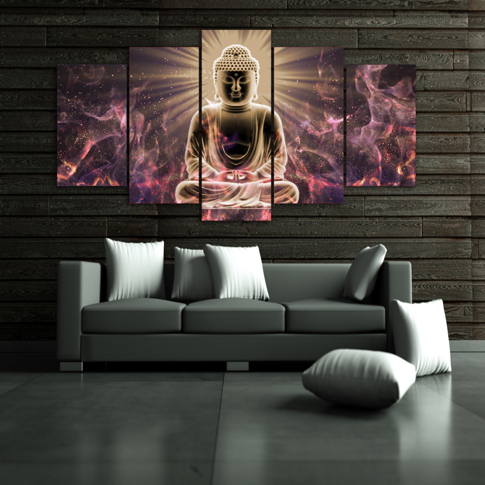Framed-5pcs-HD-Print-abstract-buddha-Buddhism-meditation-canvas-Painting-home-decor-wall-art-picture-print