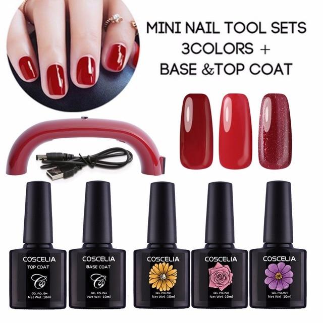 Manicure Set Gel Nail Polish Kit 12W LED Lamp for Nails UV Gel Kit ...