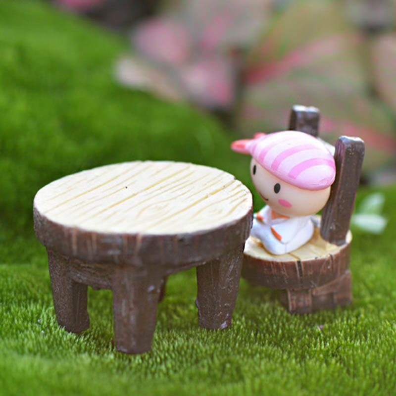 2PC Moss Micro - Landscape Succulents Ornaments Round Tables And Chairs Resin Craft Small Ornaments DIY Material