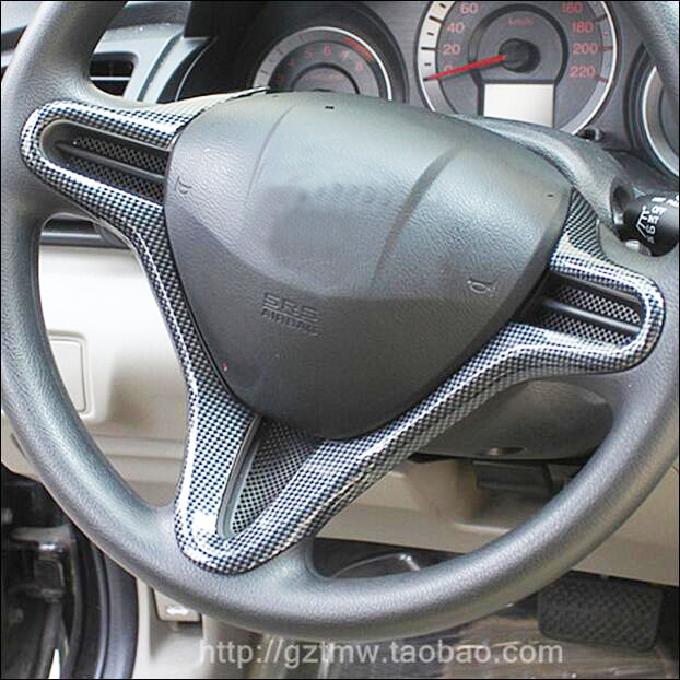 carbon fiber steering wheel modified carbon fiber interior decorated adapted for honda civic 8. Black Bedroom Furniture Sets. Home Design Ideas