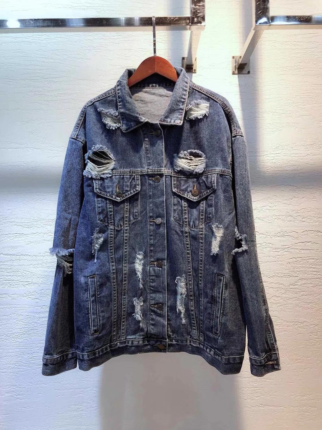 2019 new women fashion hole denim jacket high quality soft comfort loose jeans coat