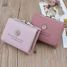 Ladies mini wallet retro style flower short paragraph purse female student three folding wallet monederos para mujer