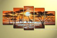 Ręcznie Malowane Nowoczesne Streszczenie Krajobraz Obraz Olejny Na Płótnie Afryki Żyrafy Zdjęcia Ścienny Do Salonu 5 Sztuk Wall Art
