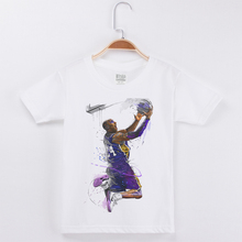 Casual Kids T-shirts White 100% Cotton Short Sleeve Basketball Star Kobe T Shirt For Boys Tshirt Children Clothing Baby Clothes boys t shirt clothes kids baby jake and the neverland pirates clothing children clothes short sleeve t shirt for boys tshirt