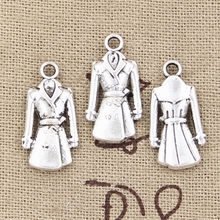 15pcs Charms overcoat coat trenchcoat 23x11mm Antique Silver Bronze Plated Pendants Making DIY Handmade Tibetan Jewelry(China)