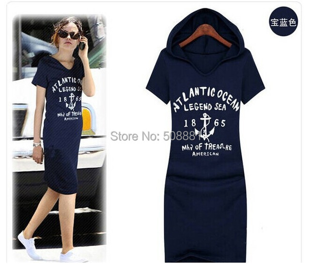 9fa6b333c5f 2018 New sportswear dress summer short-sleeve tracksuits women hoodies  casual woman dress tunic blue
