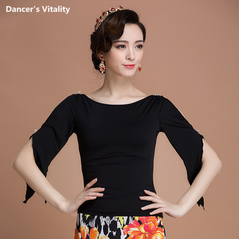 Ballroom Sexy Round Neck Short Sleeve Modern Latin Dance Clothes Top For Women/Female/Girl/Lady Dancer,Performance Wears Costume