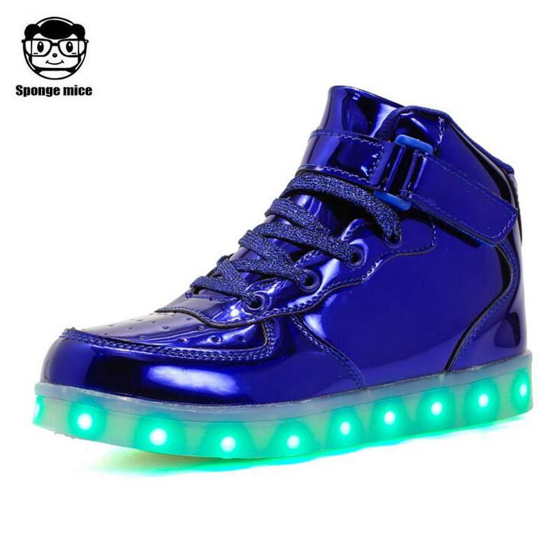 Children LED shoes Boys girls USB Charging shoes casual kids glowing sneakers high quality Brand adult lover shoes with Light up