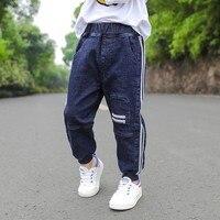 Boys Casual Jeans 2018 Spring Autumn New Korean Kids Stripe Patches Spliced Soft Denim Pants Children's Trousers Clothes X258