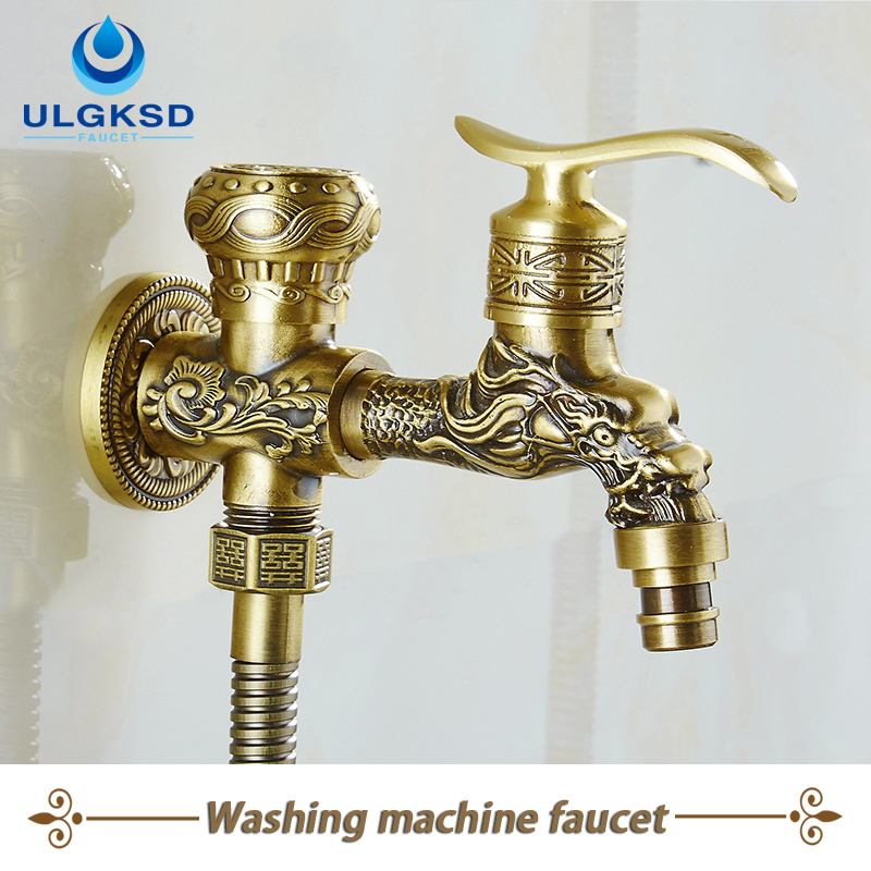 ULGKSD Free Shipping Wholesale Carved Wall-Mounted Bathroom Washing Machine Faucet Mixer Taps Antique Brass free shipping antique brass wall mounted artistic carved toilet cup