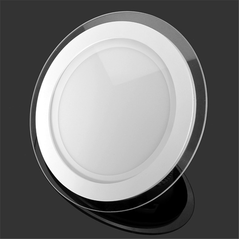 Dimmable LED Panel Light Round Glass Panel Downlight 6W 12W 18W 24W Ceiling Recessed Lights Spot Light Indoor Lamps AC85-265V