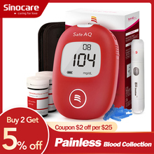 SINOCARE Safe AQ Smart Glucometer Blood Glucose Meter with Test strips Lancets 5s Simple Test Accurate for Diabetes