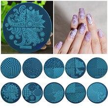 1 Pcs  Fashion DIY Nail Art Template, Nail Art Image Stamping Steel Plates 5.5cm Manicure Template (hehe001-hehe026)