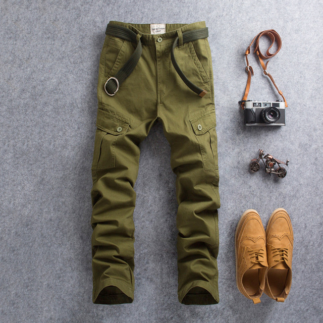 Vomint Men Cargo Pants Casual Wear Twill Cotton Regular Straight Fit Multi Color: Black Blue Green Khaki Red