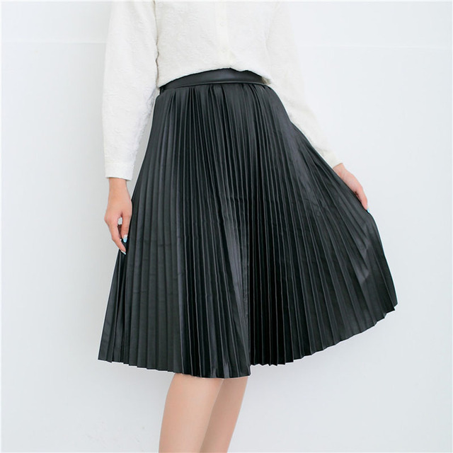 3545d5b946340 Danjeaner Women Black Leather Skirt 2017 Autumn Winter Female Vintage High  Waist Pu Pleated Skirts Ladies Knee-length Slim Skirt