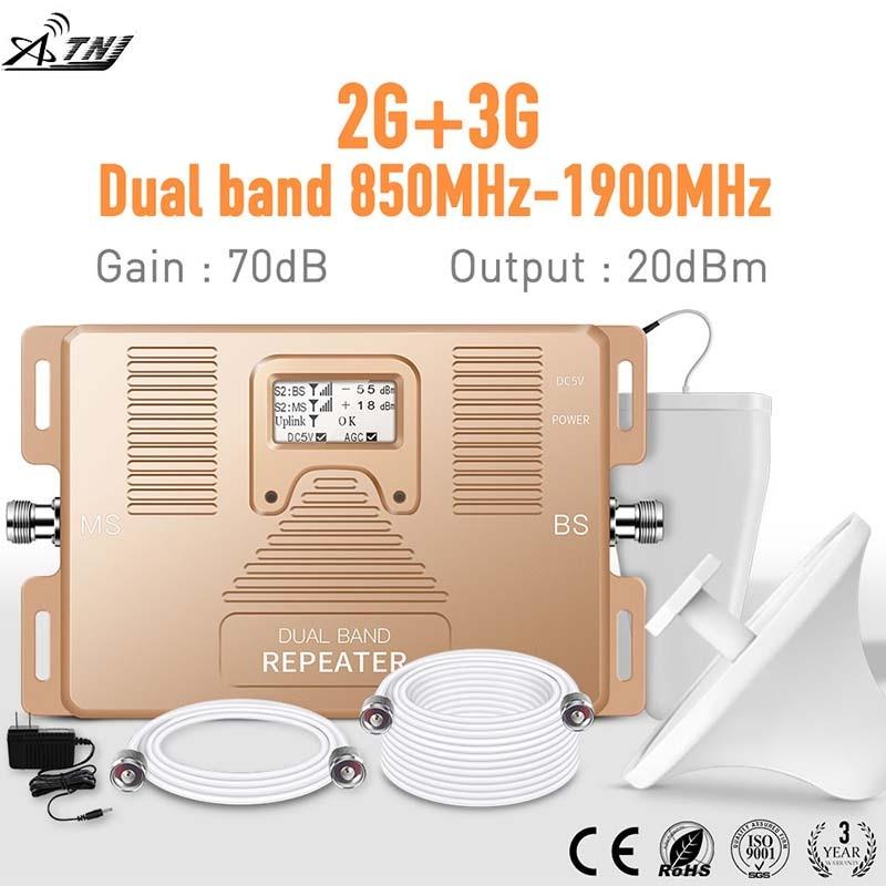 Meilleure qualité! double bande 850/1900 mhz GSM 2G 3G Smart grande couverture amplificateur de signal de téléphone portable kit d'amplificateur de répéteur de signal mobile