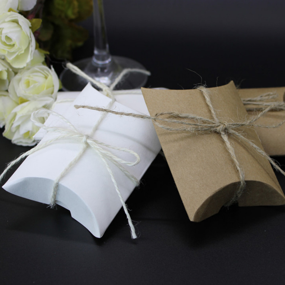 100pcs wedding gift boxes kraft pillow shape wedding favor gift box party candy box wholesales festive