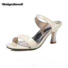US 4-10 Big Size 40 41 42 43 Summer Woman Leather Sandals  High Heel Shoes Ladies Outdoor Slides OL Casual Slipper Plus