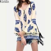 ZANZEA 2017 Spring Retro Womens Floral Print Flare Sleeve Lace Up V Neck Shirt Boho Casual