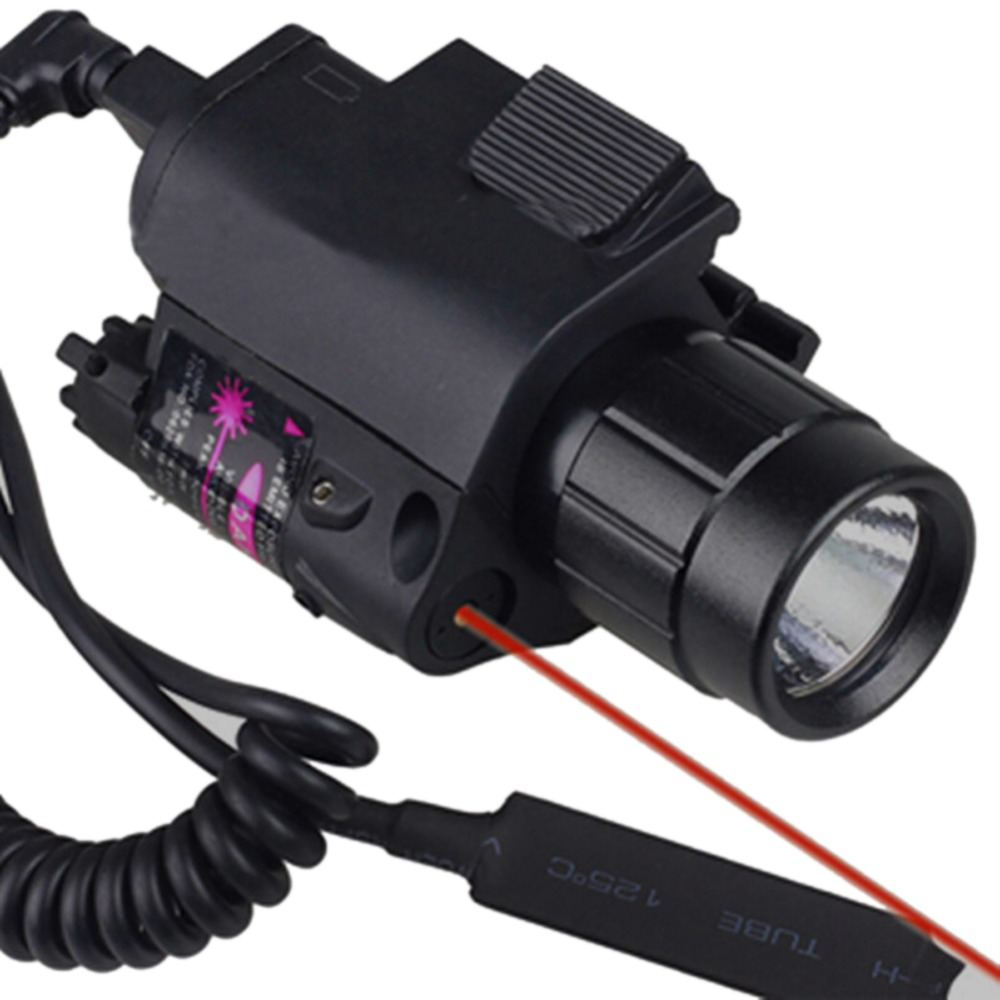 2 in 1 CREE Q5 LED Tactical Insight 300 Lumen Red Laser Flashlight Sight Combo For Pistol Gun 3 Modes For 2X3V CR123A 5mw red laser gun grip w flashlight for 20mm rail black 3 x cr123a