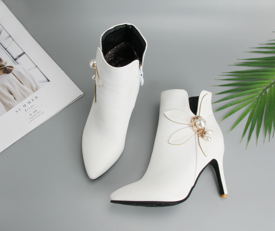 Meotina Women Boots Shoes Winter Flower High Heel Boots Rhinestone Ankle  Boots Zipper Yellow White Wedding Shoes Plus Size 45 46 0530d3ca6a68