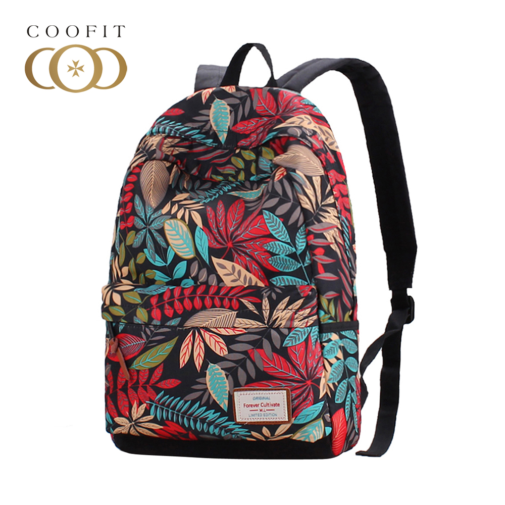 Coofit Fashion Women Canvas Backpacks Colorful Leaves Printed Backpack Girls Schoolbags Laptop Bagpacks Travel Bags For Female new original authentic balluff sensor bes 516 3007 g e4 c s49 00 3 spot