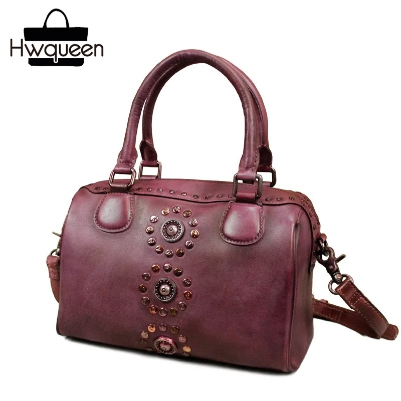 2018 Genuine Cow Leather Top-Handle Pillow Bag Female Messenger Bag Handmade Purple Shoulder Bag Vintage Women's Rivets Handbag пазл wood toys рамка вкладка раздвижная служебные машины