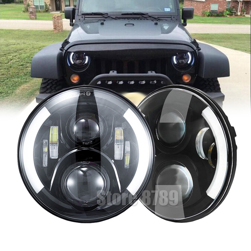 Auto Accessories Round Driving Headlamp For Jeep Wrangler 7 Inch Projector H4 LED Headlights For Lada