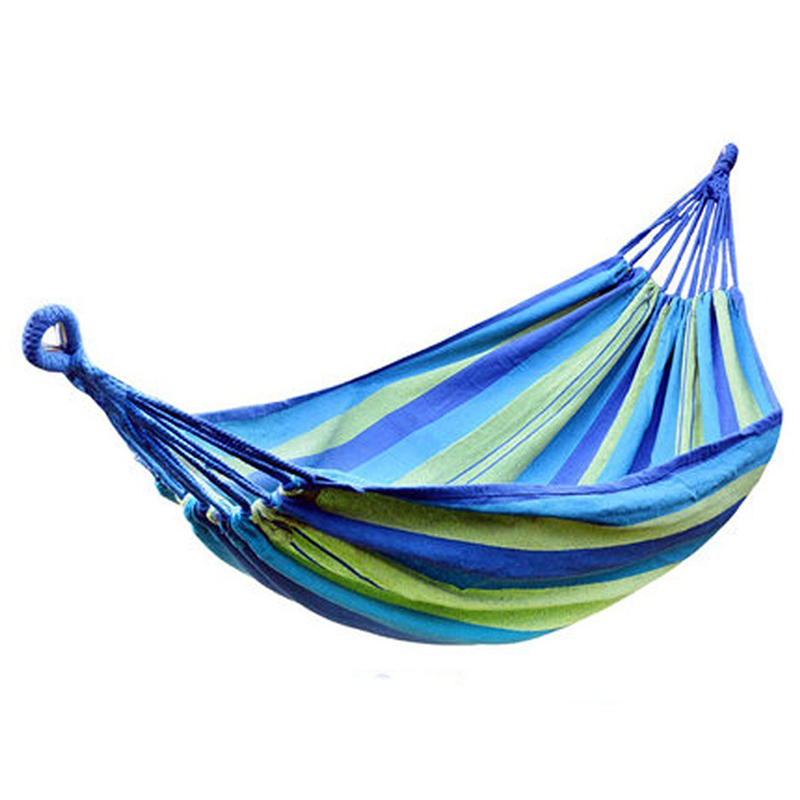 Portable Hammock Outdoor Hammock Garden Sports Home Travel Camping Swing Canvas Stripe Hang Bed Hammock Blue цена