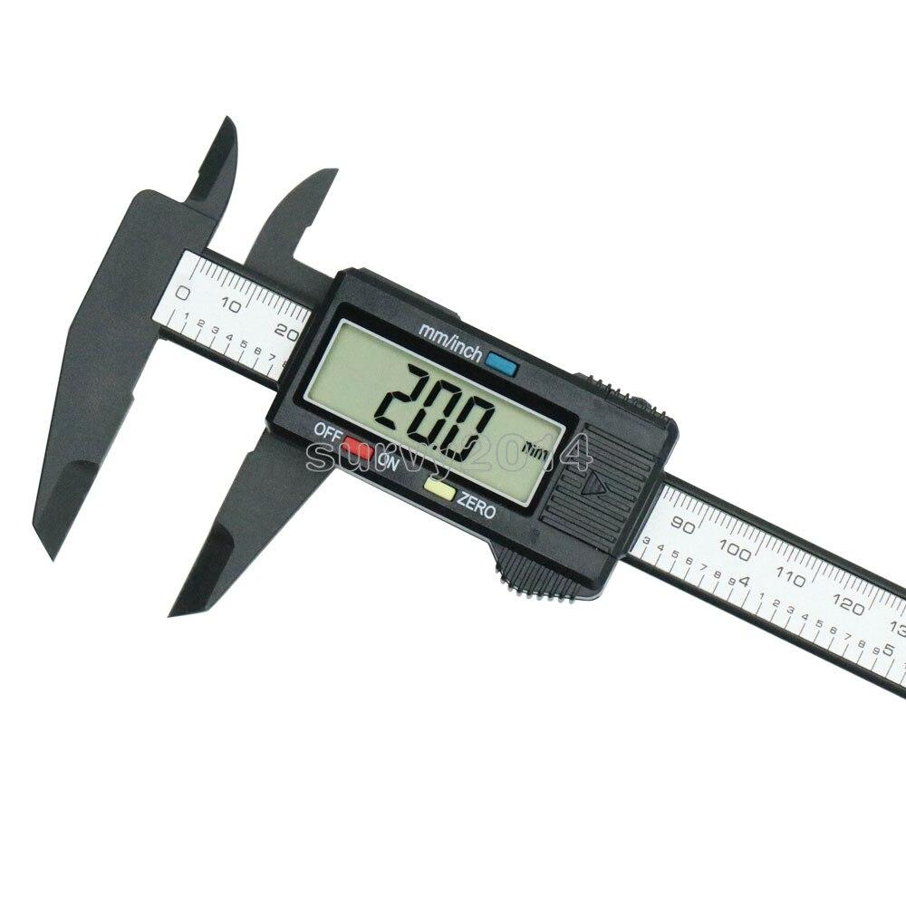 150mm 6inch LCD Digital Electronic Carbon Fiber Vernier Caliper Gauge Micrometer New Arrival