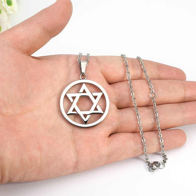 SOITIS Magen gwiazda dawida okrągły wisiorek izrael żydowski Judaica biżuteria naszyjnik ze stali nierdzewnej kobiety mężczyźni okrągłe wisiorki łańcucha