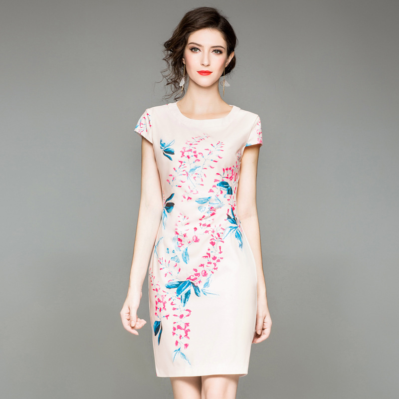 Floral work dresses 2018 new luxury summer Print Pencil Party Dress XXXL Women Clothing summer Casual