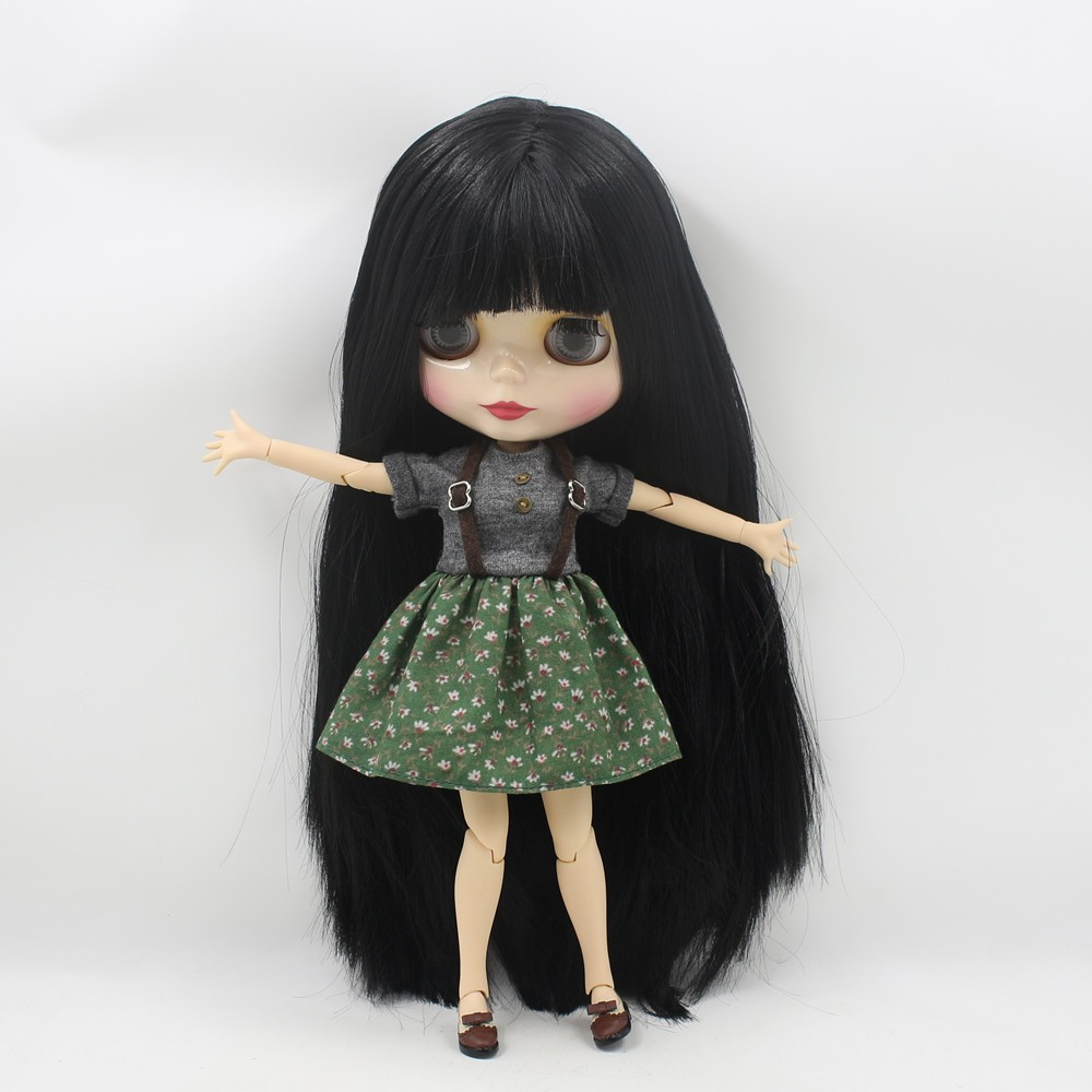Neo Blythe Doll with Black Hair, White Skin, Shiny Face & Jointed Body 1