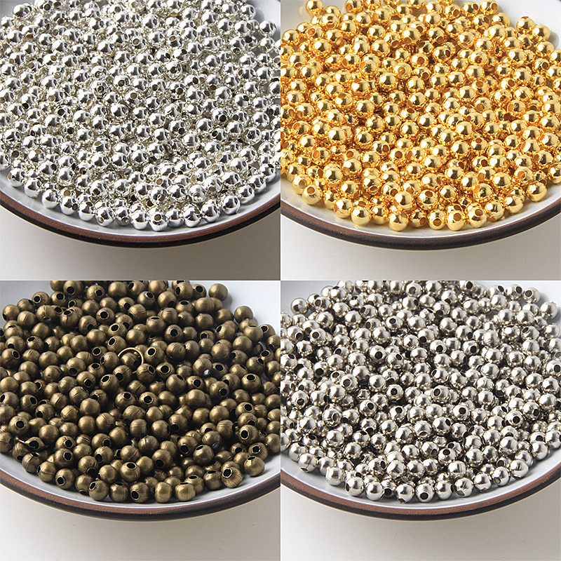 Jewelry Findings Diy Metal Beads Gold/Silver/Bronze/Silver Tone Smooth Ball Spacer Beads For Jewelry Making 2/2.5/3/4/5/6/8/10mm(China)
