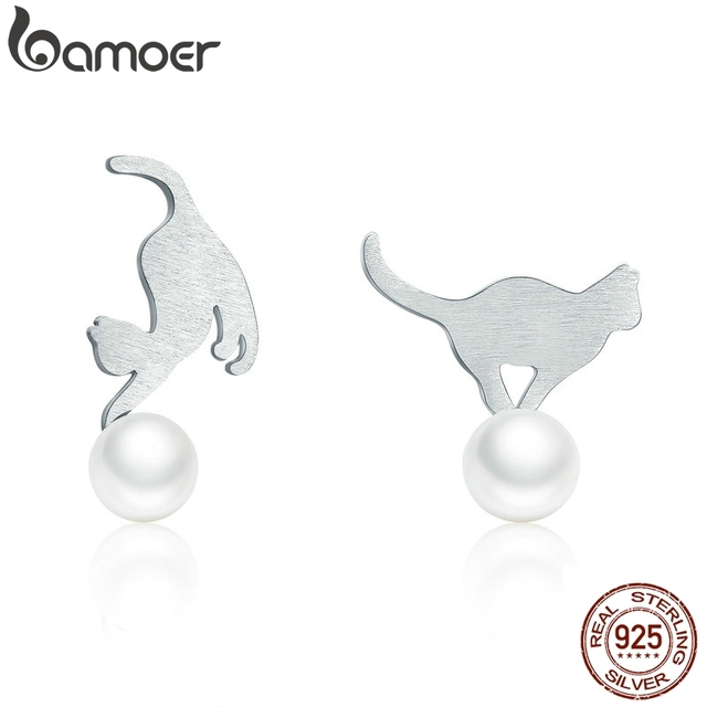 BAMOER Hot Sale 100% 925 Sterling Silver Naughty Cat Play Ball Drop Earrings Women Sterling Silver Earrings Jewelry Gift SCE235