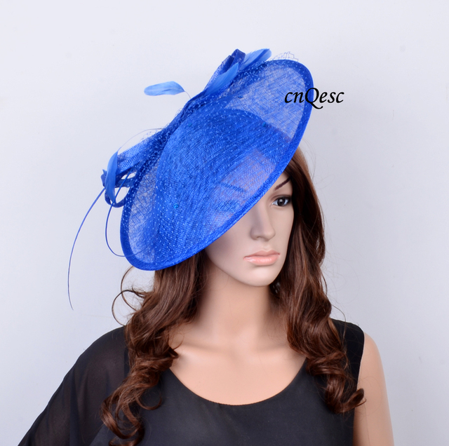 Royal Blue Sinamay Hat Fascinator W Feathers Veiling Sequin For Races