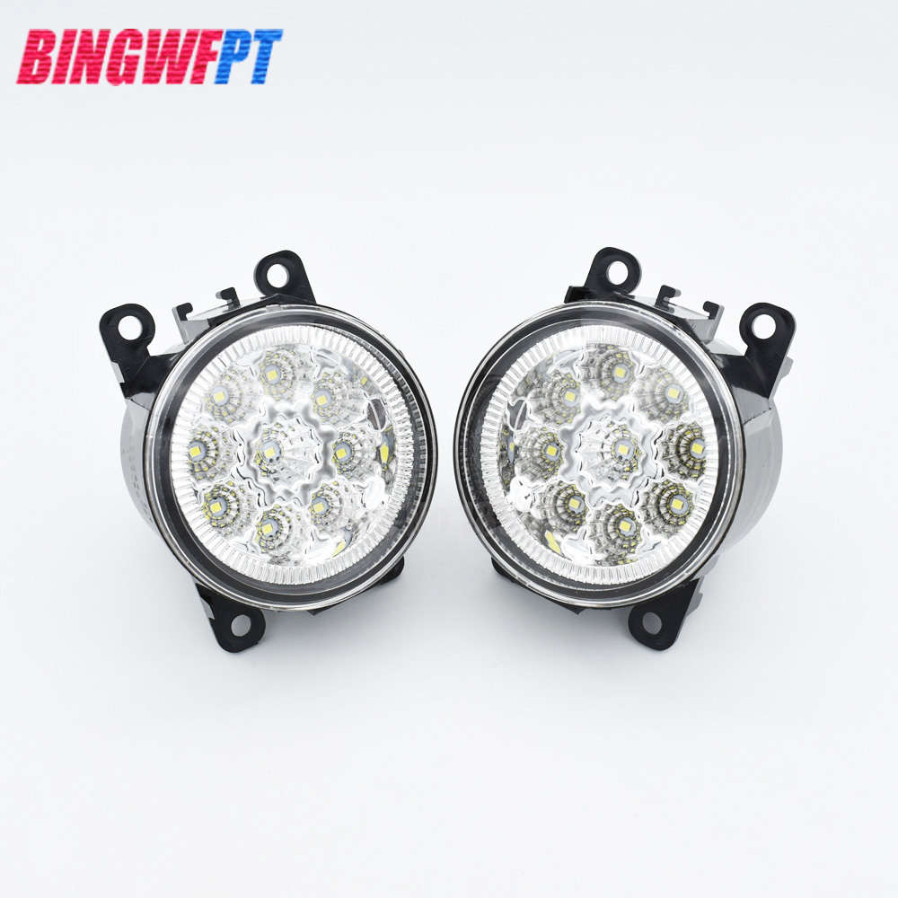 1set Car Styling Round Front Bumper LED Fog Lights DRL Daytime Running Driving For Subaru Outback 2010 2011 2012 for subaru outback 2010 2011 2012 car styling bumper angel eyes led fog lamps drl daytime running fog lights ocb lens
