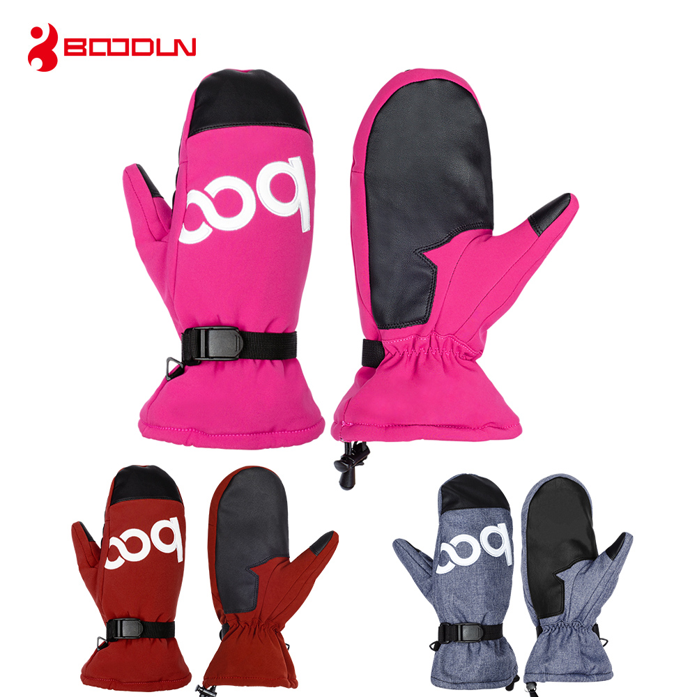 Winter Sports Gloves Waterproof Women Snowboard Snowmobile Warm Cycling Skiing Gloves PU leather Motorcycle Riding Sports Gloves