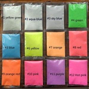 Image 3 - 12 색 패션 슈퍼 밝은 글로우 다크 파우더 글로우 빛나는 안료 형광 파우더 밝은 색 분말 10 그램/가방/가방