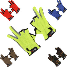 5 Color Top Quality Anti Slip Fly Fishing Gloves Cut Finger Leather Gloves Outdoor Sports Sun Protection Gloves