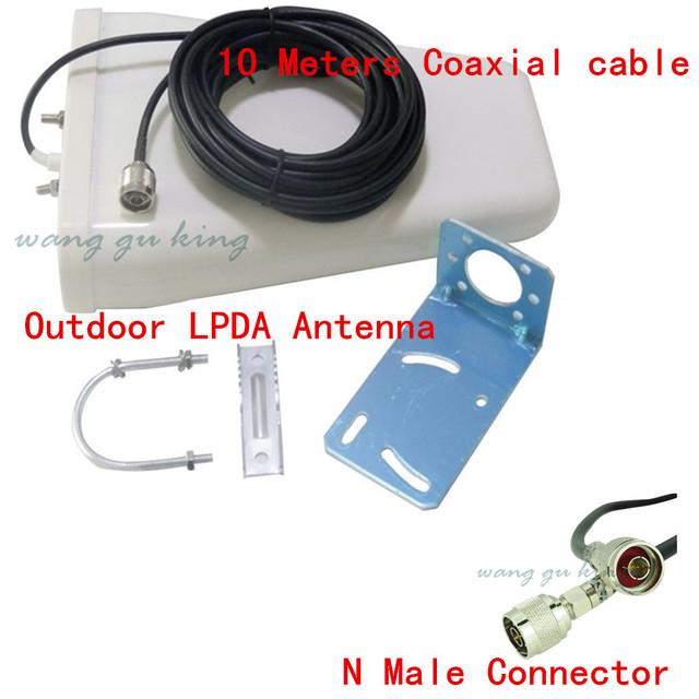 11dbi 800-2500 MHz LTE LPDA direcional Ao Ar Livre Antena com N Fêmea conector + 10 m cabo para 3g gsm Sinal de Celular cdma Booster