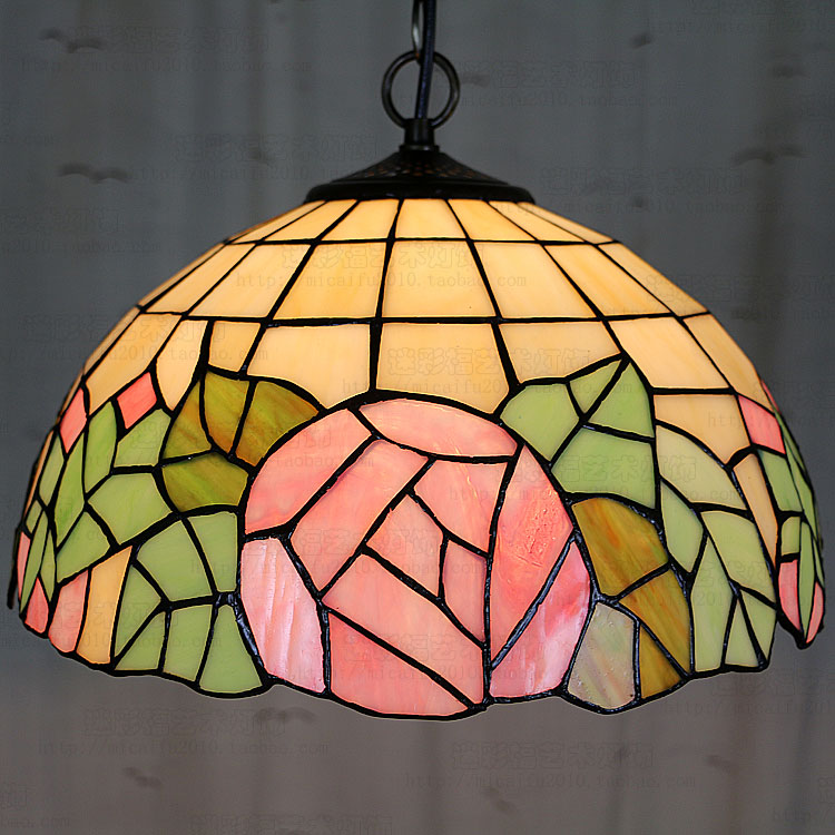 12inch European style Tiffany color glass pink romantic rose pendant light bedroom bedroom dining room modern romantic luxury white pink color feather pendant light lamp marriage room clothing store bedroom dining room pendant lamp